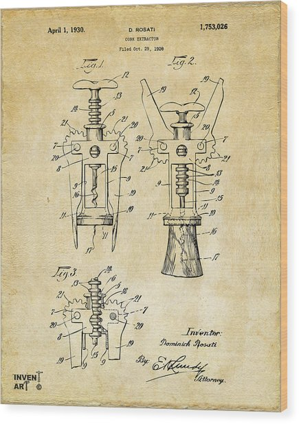 1928 Cork Extractor Patent Art - Vintage Black Wood Print