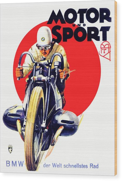 1929 - Bmw Motorcycle Poster - Color Wood Print