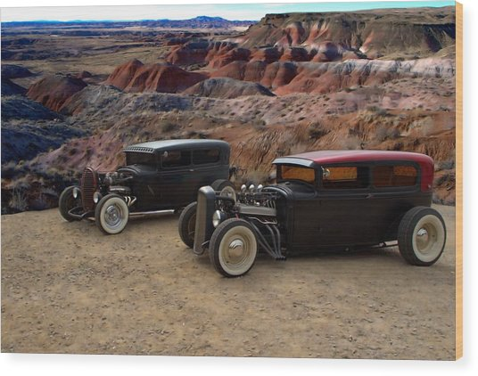 1930 And 1931 Ford Sedan Rat Rods Wood Print