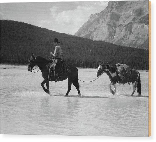 1930s 1940s Cowboy On Horseback Wood Print