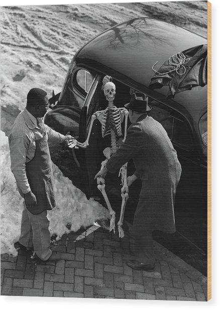 1930s Two Men Taking Skeleton Wood Print
