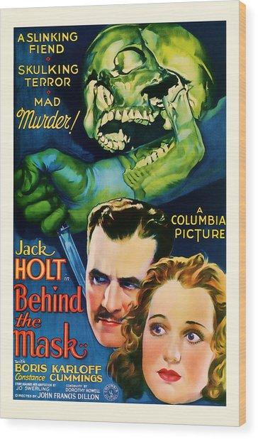 1932 Behind The Mask Vintage Movie Art Wood Print