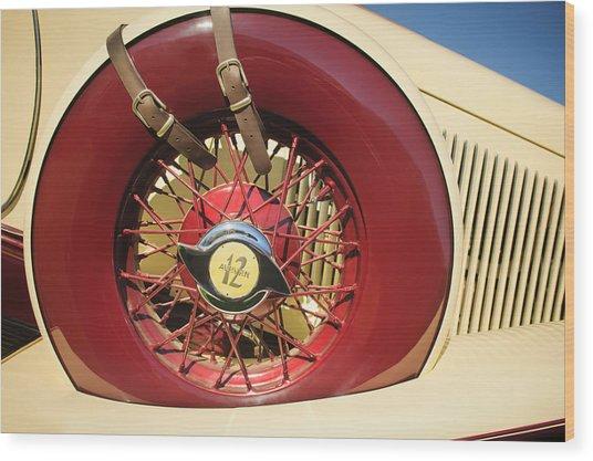Wood Print featuring the photograph 1933 Auburn 12-161a Custom Speedster Spare Tire Emblem by Jill Reger