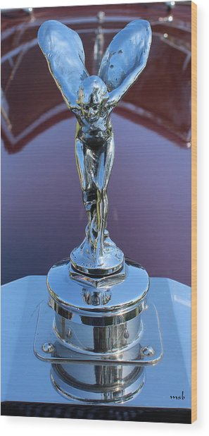 1933 Rolls Royce Phantom II Hood Ornament Wood Print by Mark Steven Burhart