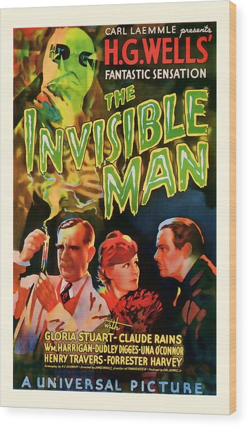 1933 The Invisible Man Vintage Movie Art Wood Print