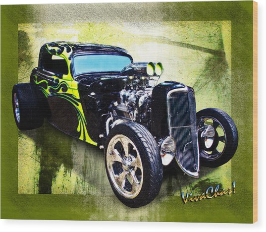 1934 Ford Three Window Coupe Hot Rod Wood Print
