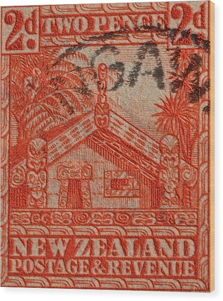 1935 Carved Maori House New Zealand Stamp Wood Print
