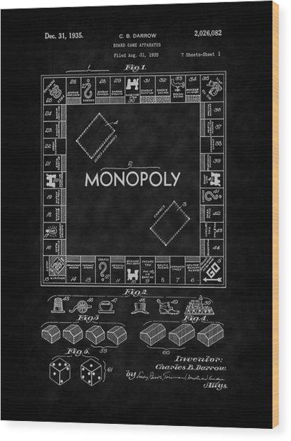 1935 Monopoly Board Game Patent-bk Wood Print