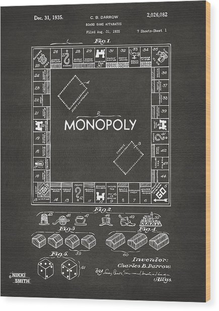 Wood Print featuring the digital art 1935 Monopoly Game Board Patent Artwork - Gray by Nikki Marie Smith