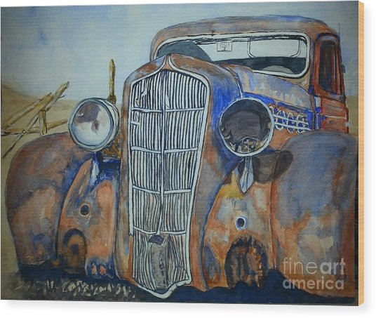 1935 Plymouth Coupe Wood Print by DJ Laughlin