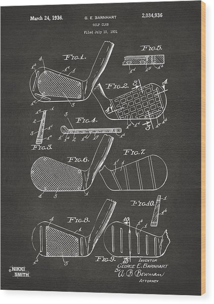 Wood Print featuring the digital art 1936 Golf Club Patent Artwork - Gray by Nikki Marie Smith