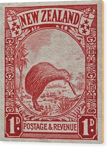1936 New Zealand Kiwi Stamp Wood Print