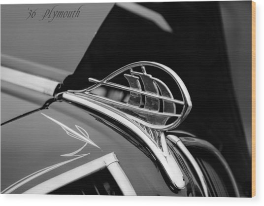 1936 Plymouth Sailing Ship Hood Ornament Wood Print