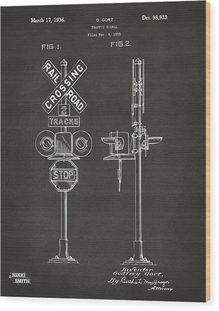 1936 Rail Road Crossing Sign Patent Artwork - Gray Wood Print