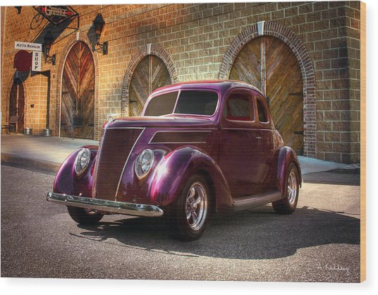 1937 Ford Wood Print by Andrea Kelley