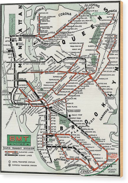 Bmt Subway Map.1937 Map Brooklyn Manhattan Transit By Bmt Lines