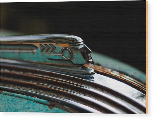 Wood Print featuring the photograph 1937 Pontiac 224 Hood Ornament by Trever Miller