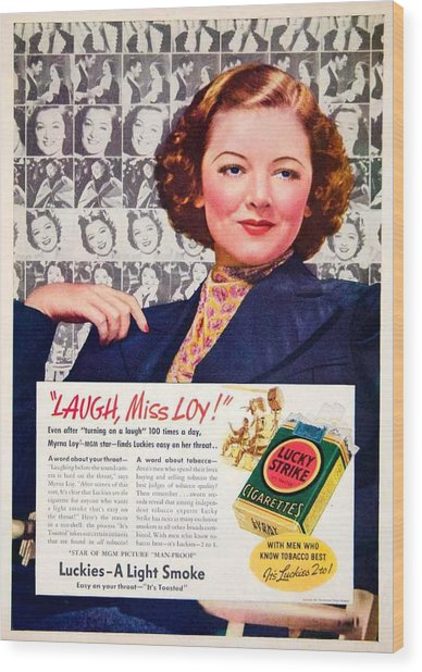 1938 - Lucky Strike Cigarettes Advertising - Myrna Loy - Color Wood Print