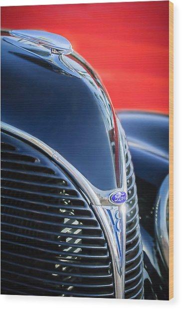 1938 Ford Hood Ornament - Grille Emblem -0089c Wood Print