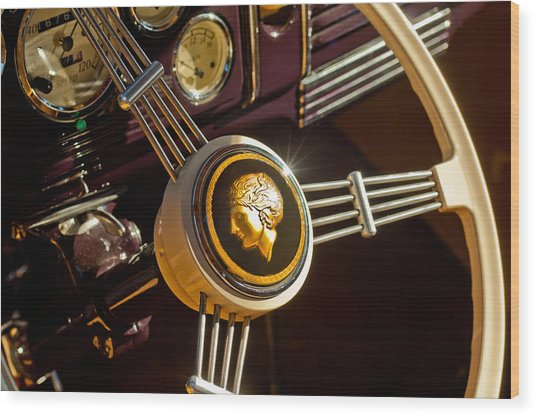 Wood Print featuring the photograph 1939 Ford Standard Woody Steering Wheel by Jill Reger