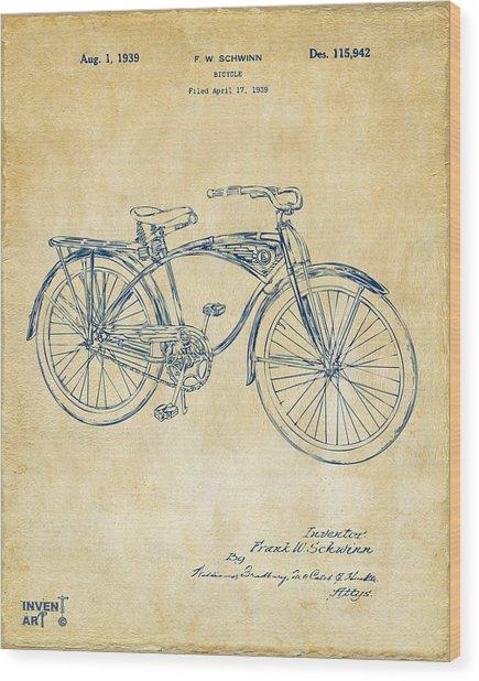 1939 Schwinn Bicycle Patent Artwork Vintage Wood Print