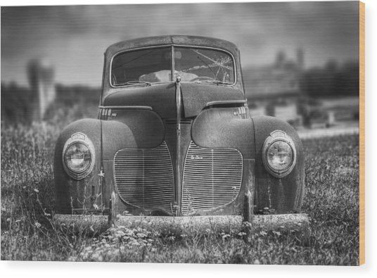 1940 Desoto Deluxe Black And White Wood Print