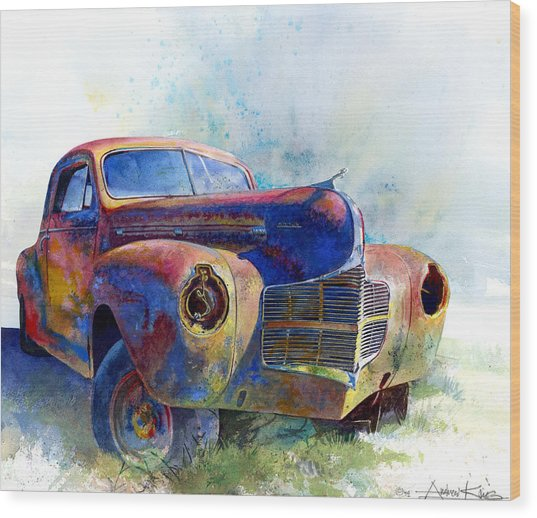 Wood Print featuring the painting 1940 Dodge by Andrew King