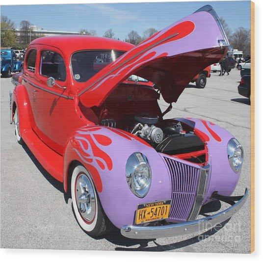 1940 Ford Two Door Sedan Hot Rod Wood Print