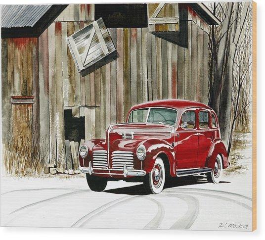 1940 Hudson And Barn Wood Print by Rick Mock