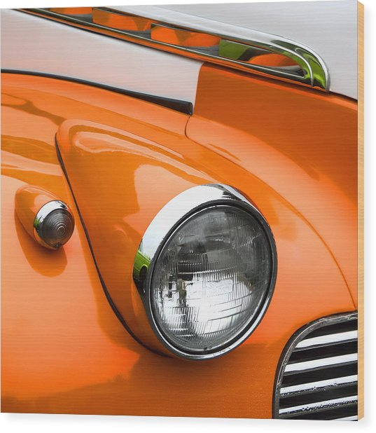 1940 Orange And White Chevrolet Sedan Square Wood Print