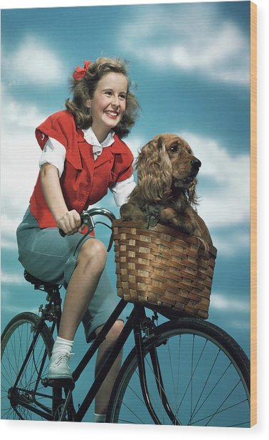 1940s 1950s Smiling Teen Girl Riding Wood Print