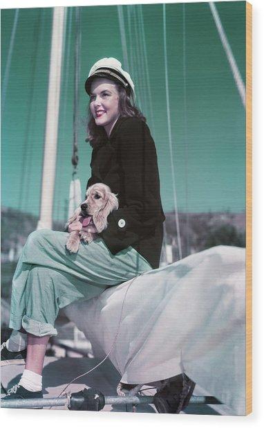 1940s 1950s Smiling Woman Wearing Wood Print