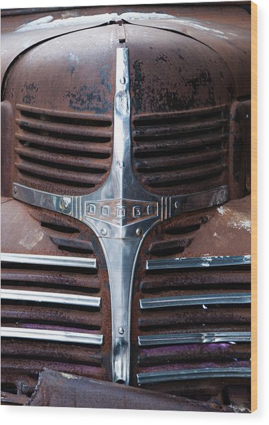 Wood Print featuring the photograph 1940's Dodge Chrome Truck Grill by Rosemary Legge