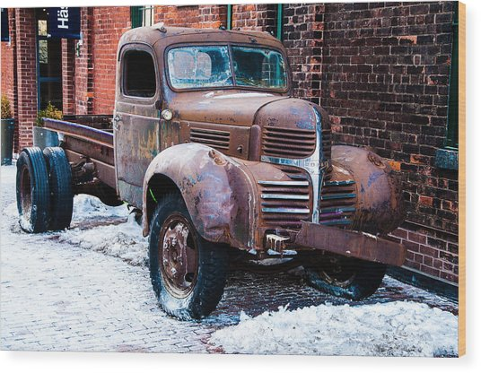 Wood Print featuring the photograph 1940's Dodge Pickup Truck - Distillery District Toronto  by Rosemary Legge