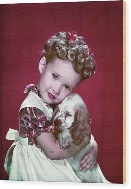 1940s Portrait Girl Wearing Plaid Dress Wood Print