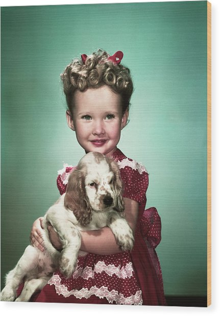 1940s Portrait Smiling Girl Wearing Red Wood Print