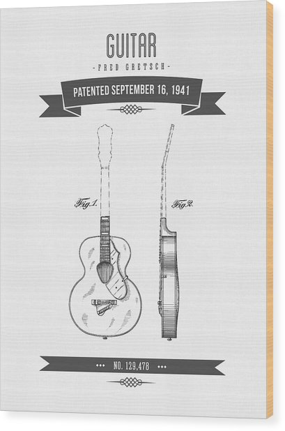 1941 Guitar Patent Drawing Wood Print