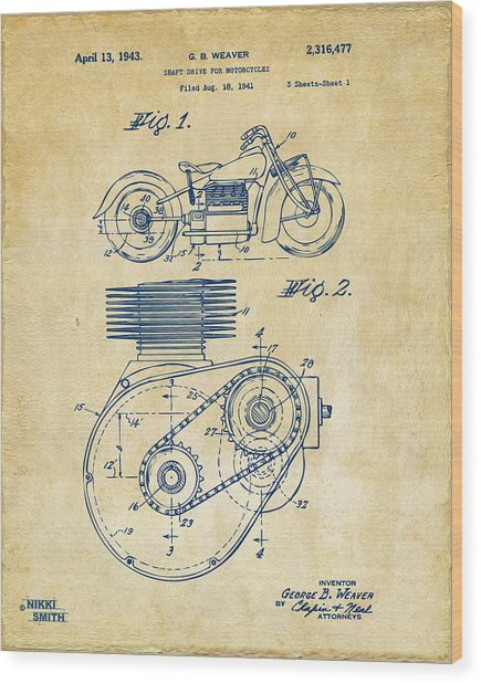 1941 Indian Motorcycle Patent Artwork - Vintage Wood Print