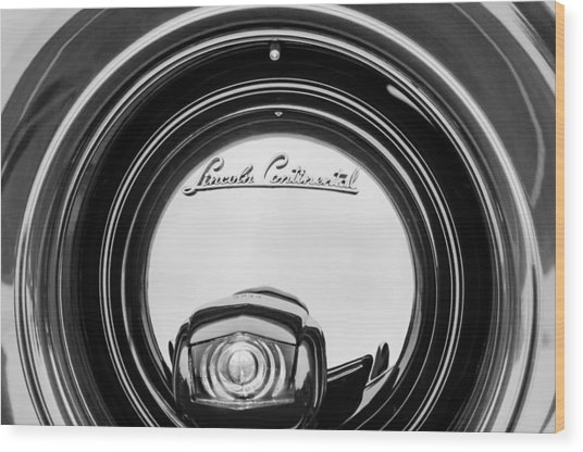 1941 Lincoln Continental Spare Tire Emblem - 1963bw Wood Print