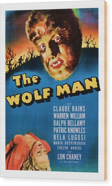 1941 The Wolf Man Vintage Movie Art Wood Print