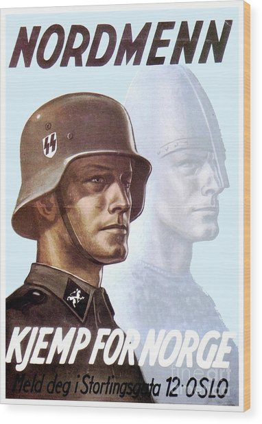 1943 - German Waffen Ss Recruitment Poster - Norway - Color Wood Print