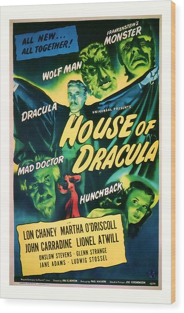 1945 House Of Dracula Vintage Movie Art Wood Print
