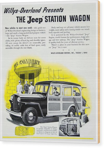 1946 - Willys Overland Jeep Station Wagon Advertisement - Color Wood Print