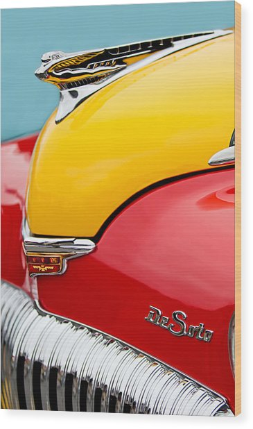 1946 Desoto Skyview Taxi Cab Hood Ornament Wood Print