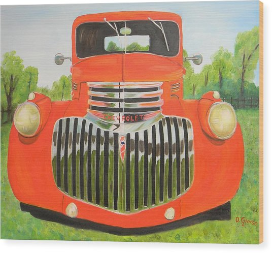 1946 Red Chevy Truck Wood Print
