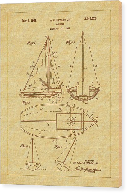 1948 Sailboat Patent Art Wood Print by Barry Jones