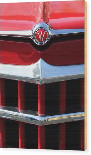 1950 Willys Overland Jeepster Hood Emblem Wood Print