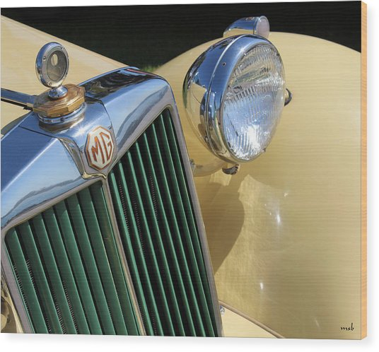 1950 Yellow Mg Grille Wood Print by Mark Steven Burhart