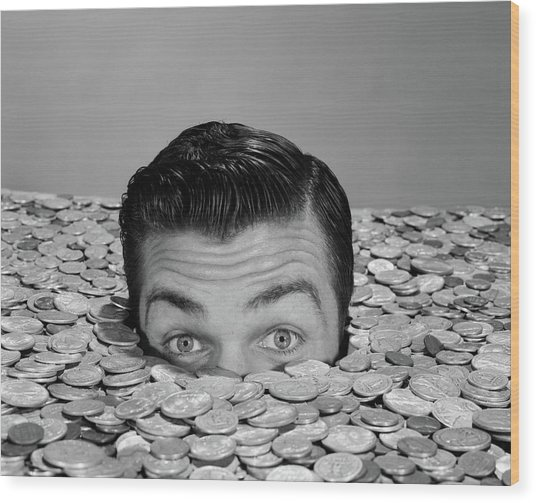 1950s 1960s Funny Man Buried Up To Eyes Wood Print