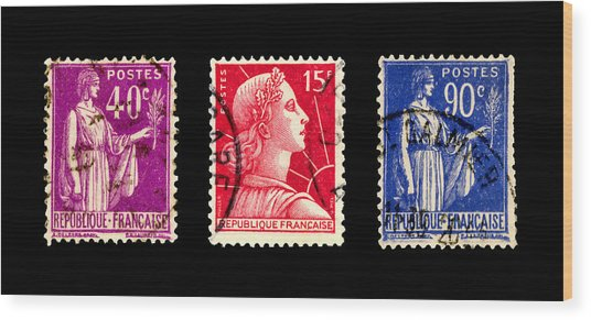 1950s French Postage Triptych Wood Print